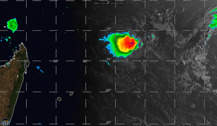 INVEST 98S. 28/08UTC. 6H LOOP. ANIMATED MULTISPECTRAL SATELLITE IMAGERY SHOWS THAT A WELL-DEFINED LOW-LEVEL CIRCULATION  REMAINS CENTERED NEAR THE NORTHEASTERN EDGE OF A RAGGED AREA OF DEEP  CONVECTION, WHICH HAS PULSED IN DISORGANIZED FASHION DURING THE PAST  24 HOURS, AND HAS DEGRADED IN PRESENTATION. IF NEEDED CLICK TO ANIMATE.