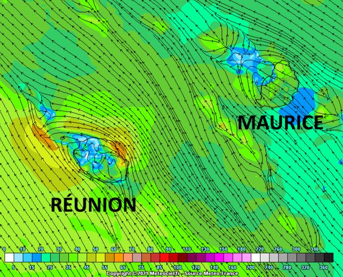 Le retour des alizés devrait être évident sur le Nord-Est et à un degré moindre sur le Sud-Ouest de la RÉUNION. A MAURICE il sera plus discret mais capable néanmoins de faire baisser la sensation de lourdeur de l'atmosphère et la sensation d'inconfort. Simulation des vents en rafales pour Jeudi en début d'après-midi par le modèle Arome de Météo France. MCIEL.