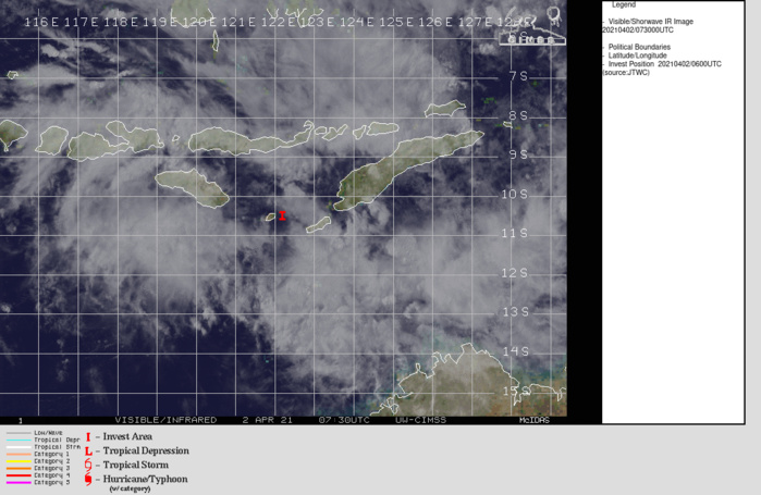 INVEST 99S. RECENT VISIBLE SATELLITE IMAGERY SHOWS AN ELONGATED LOW- LEVEL CIRCULATION BECOMING BETTER ORGANIZED BETWEEN A BELT OF 20-25  KNOT EASTERLIES IN THE TIMOR SEA AND A BELT OF 30-35 KNOT WESTERLIES  NORTH OF THE SAVU SEA, AS ASSESSED FROM A 020146Z ASCAT-C PASS. DEEP  CONVECTION IS PATCHY AND DECENTRALIZED, BUT FORMATIVE CURVED BANDING  IS BECOMING APPARENT IN THE SOUTHERN, WESTERN, AND NORTHERN  SEMICIRCLES.