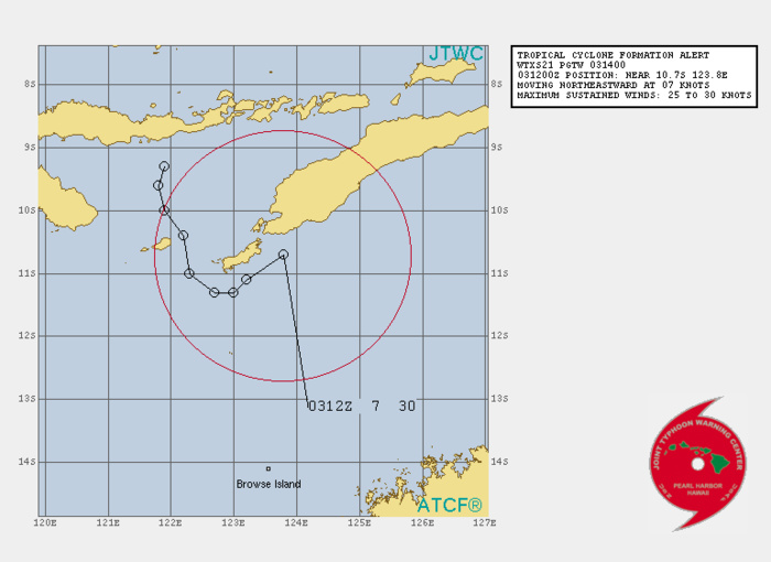 INVEST 99S. 03/14UTC. TROPICAL CYCLONE FORMATION ALERT(TCFA).