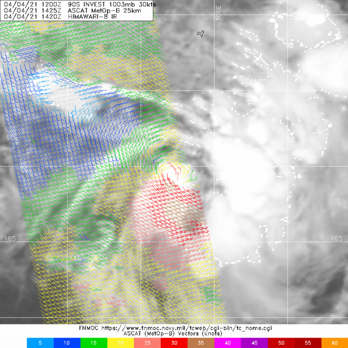 INVEST 90S. 04/1425UTC. ASCAT-B READ 35KNOT WINDS IN THE SOUTHERN QUADRANT.