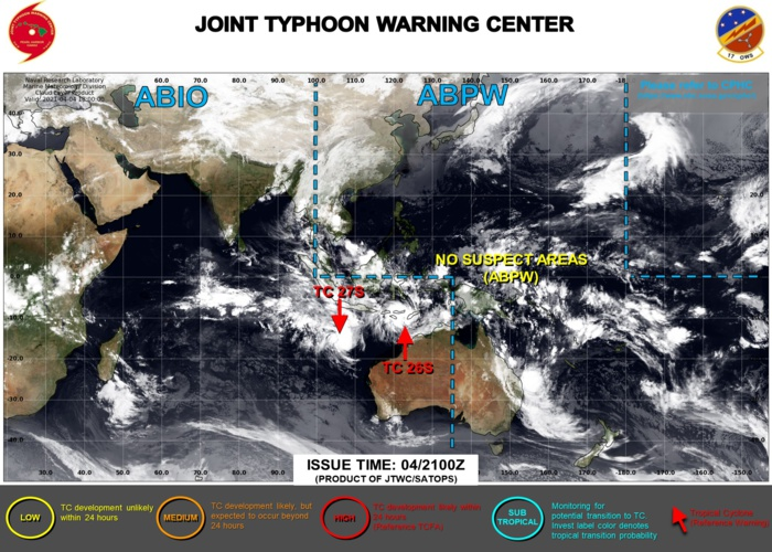 05/03UTC. JTWC IS ISSUING 6HOURLY WARNINGS ON TC 27S(SEROJA) AND 12HOURLY WARNINGS ON TC 27S. 3HOURLY SATELLITE BULLETINS ARE ISSUED FOR BOTH SYSTEMS.