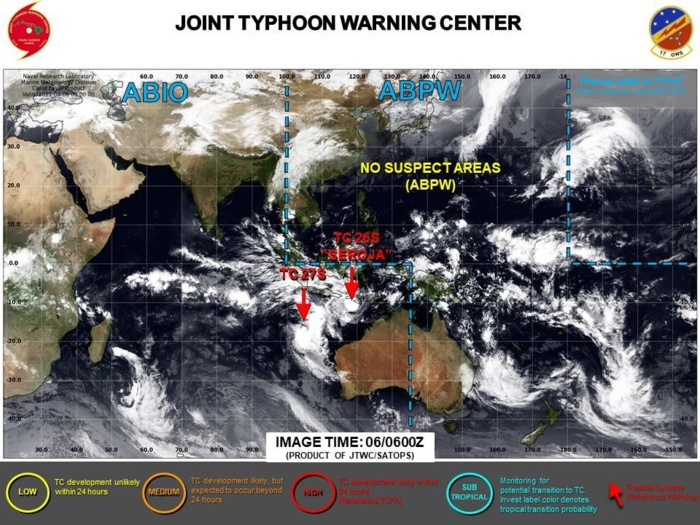 06/03UTC. JTWC IS ISSUING 6HOURLY WARNINGS ON 26S(SEROJA) AND 27S. 3HOURLY SATELLITE BULLETINS ARE ISSUED FOR BOTH SYSTEMS.
