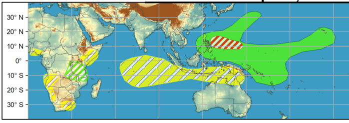 WEEK 2. 14 to 20 April. An elevated chance of TC development also is forecast across the West Pacific. Due to uncertainty on timing, a moderate confidence area covers weeks 1 and 2.