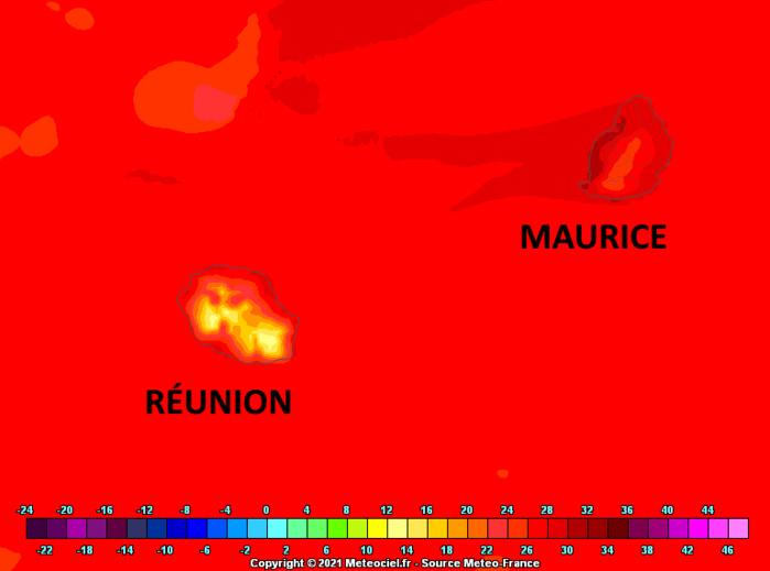 Les températures maximales sous abri les plus élevées des ILES SOEURS seront encore très probablement observées sur la frange littorale occidentale de MAURICE. Arome. MFRANCE. MCIEL.