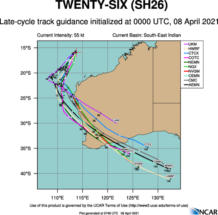 26S(SEROJA). NUMERICAL MODELS ARE IN FAIR AGREEMENT THROUGH 24H, WITH  NVGM AND AFUM BEING THE EXTREME LEFT OUTLIERS. NEAR 36/48H, THE  EXCESSIVE BINARY INTERACTION (EBI) WITH TC 27S, THE MODELS START  SPREADING APART SIGNIFICANTLY AS THE VORTEX BECOMES EMBEDDED IN THE  BAROCLINIC ZONE DURING EXTRA TROPICAL TRANSITION. OVERALL, THERE IS MODERATE CONFIDENCE IN  THE JTWC TRACK FORECAST THAT IS LAID SLIGHTLY RIGHT OF THE MODEL  CONSENSUS DURING THE MID-PORTION TO OFFSET THE EXTREME LEFT OUTLIERS  NVGM AND AFUM.