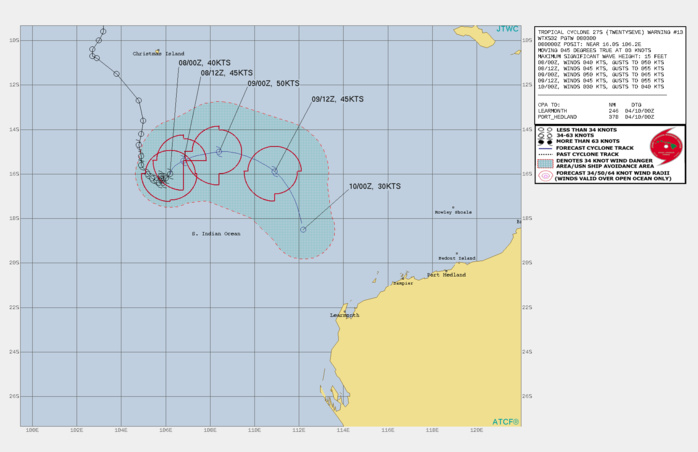 26S. WARNING 14 ISSUED AT 08/09UTC. ANALYSIS INDICATES THE CYCLONE IS IN A MARGINAL ENVIRONMENT WITH STRONG  SUBSIDENCE ALOFT ALONG THE EASTERN HALF DUE TO THE OUTFLOW FROM TC  26S AND MODERATE TO STRONG (20-25KT) EASTERLY VERTICAL WIND SHEAR  THAT ARE PARTLY OFFSET BY WARM (29C) SEA SURFACE TEMPERATURE. THE  SYSTEM IS IN A NEUTRAL AREA BETWEEN A LOW REFLECTION OF THE  SUBTROPICAL RIDGE TO THE SOUTHWEST, WEAK NEAR EQUATORIAL RIDGING TO  THE NORTHWEST, AND OUTFLOW PRESSURE FROM AN APPROACHING TC 26S,  CURRENTLY 650KM TO THE EAST. AS TC 26S GETS CLOSER, A BINARY  INTERACTION WILL COMMENCE DUE TO FUJIWARA EFFECT RESULTING IN TC 26S  TRACKING CYCLONICALLY INTO AN ARC NORTHEASTWARD. THE WARM WATER AND  INCREASED OUTFLOW WILL MARGINALLY OFFSET THE VWS AND PROMOTE A  MODEST INTENSIFICATION TO A PEAK OF 50KNOTS AS IT CRESTS THE ARC.  AFTERWARD, IT WILL RAPIDLY DECAY AS IT GETS RAPIDLY ABSORBED INTO  THE LARGER AND MUCH MORE DOMINANT TC 26S LEADING TO DISSIPATION BY  36H, POSSIBLY SOONER.