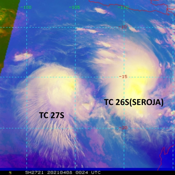 TC 27S. ANIMATED MULTISPECTRAL  SATELLITE IMAGERY (MSI) SHOWS THE SYSTEM HAS MOSTLY MAINTAINED  CONVECTIVE SIGNATURE ON THE WESTERN SIDE AS TC 27S MOVED SLIGHTLY  NORTHWEST IN THE WEAK STEERING ENVIRONMENT. TC 26S(SEROJA) IS CURRENTLY  650KM TO THE EAST OF TC 26S.