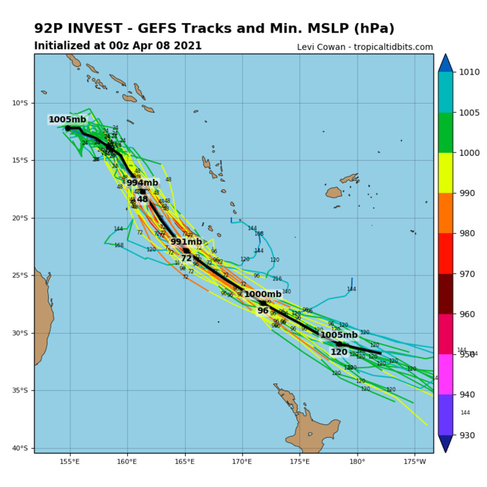 INVEST 92P. INVEST 92P IS IN A FAVORABLE ENVIRONMENT FOR TROPICAL DEVELOPMENT WITH WARM (29-30C) SEA SURFACE  TEMPERATURES, LOW (5-10KTS) VERTICAL WIND SHEAR (VWS), AND EXCELLENT  POLEWARD OUTFLOW. GLOBAL MODELS ARE IN GOOD AGREEMENT THAT INVEST  92P WILL CONSOLIDATE AS IT TRACKS TO THE SOUTHEAST, REMAINING  LARGELY ASYMMETRIC, POTENTIALLY REACHING WARNING THRESHOLD IN THE  NEXT SEVERAL DAYS.