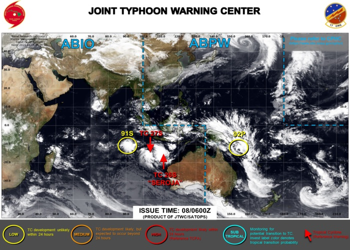 08/06UTC. JTWC IS ISSUING 6HOURLY WARNINGS ON TC 26S(SEROJA) AND ON TC 27S. 3HOURLY SATELLITE BULLETINS ARE ISSUED FOR BOTH SYSTEMS.