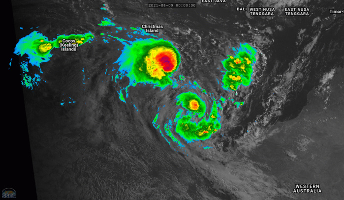 09/09UTC. 9H LOOP. FROM LEFT TO RIGHT: INVEST 91S. TC 27S(ODETTE) AND TC 26S(SEROJA). IF NEEDED CLICK TO ANIMATE.