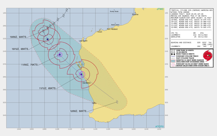 26S(SEROJA). WARNING 23 ISSSUED AT 10/03UTC.ENVIRONMENTAL ANALYSIS INDICATES FAVORABLE CONDITIONS  WITH LOW VERTICAL WIND SHEAR (VWS), ROBUST POLEWARD OUTFLOW INTO THE  WESTERLIES AND WARM SST (28C) VALUES. THE INITIAL INTENSITY IS  ASSESSED AT 60 KNOTS BASED ON AN AVERAGE OF DVORAK INTENSITY  ESTIMATES FROM PGTW, KNES AND APRF RANGING FROM T3.5-4.0 (55-65  KNOTS). TC 26S IS EXPECTED TO RECURVE BY 12H AND ACCELERATE SOUTH- SOUTHEASTWARD WITH EXTRA-TROPICAL TRANSITION (ETT) COMMENCING AT 24H WHEN THE SYSTEM BEGINS TO INTERACT WITH THE BAROCLINIC ZONE AND  WESTERLIES. AFTER 24H, TC 26S WILL TURN SOUTHEASTWARD TOWARD  SOUTHWEST AUSTRALIA, TRACKING WITHIN THE MIDLATITUDE WESTERLIES. THE  SYSTEM WILL COMPLETE ETT BY 48H AS IT BECOMES EMBEDDED WITHIN THE  WESTERLIES AND GAINS FRONTAL CHARACTERISTICS. TC 26S WILL WEAKEN BY  36H AS IT ENCOUNTERS STRONG VWS AND INTERACTS WITH LAND. RAPID  WEAKENING IS ANTICIPATED AFTER 36H AS VWS INCREASES TO 25-35  KNOTS.