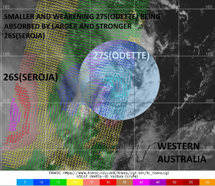 26S(SEROJA). 10/0015UTC. ON THE LEFT IS THE CIRCULATION OF 26S. ON THE RIGHT IS THE SMALL RESIDUAL CIRCULATION OF 27S(ODETTE).
