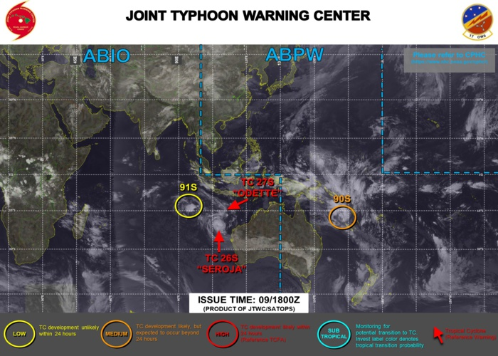 10/03UTC. THE JTWC IS ISSUING 6HOURLY WARNINGS ON TC 26S(SEROJA) AND TC 27S(ODETTE). INVEST 92P WAS UP-GRADED TO MEDIUM AT 09/1930UTC(MODERATE CHANCES OF REACHING 35KNOTS WITHIN 24H). 3 HOURLY SATELLITE BULLETINS ARE ISSUED FOR THE 4 SYSTEMS.