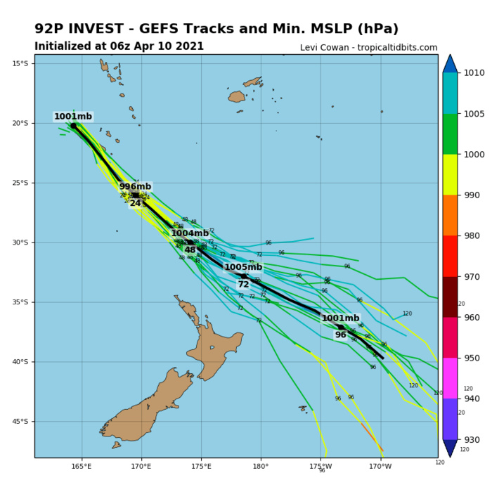 INVEST 92P.  ENVIRONMENTAL ANALYSIS INDICATES  INVEST 92P IS CURRENTLY IN A MARGINAL ENVIRONMENT FOR TROPICAL  DEVELOPMENT WITH GOOD POLEWARD AND EASTWARD OUTFLOW, MODERATE (15-20  KTS) VERTICAL WIND SHEAR, AND WARM (29-30C) SEA SURFACE  TEMPERATURES. ANALYSIS SUGGESTS INVEST 92P IS A HYBRID SYSTEM WITH  BOTH TROPICAL AND SUBTROPICAL CHARACTERISTICS. GLOBAL MODELS ARE IN  GENERAL AGREEMENT THAT INVEST 92P WILL TRACK SOUTHEASTWARD WHILE  INTENSIFYING AS A SUBTROPICAL CYCLONE.