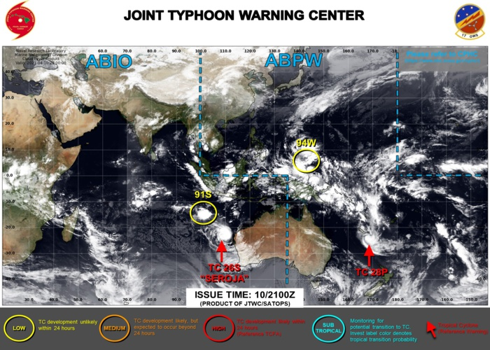 11/03UTC. THE JTWC IS ISSUING 6HOURLY WARNINGS ON TC 26S(SEROJA) AND TC 28P. 3HOURLY SATELLITE BULLETINS ARE ISSUED FOR 26S,28P AND 91S.