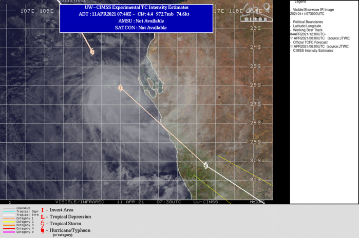 26S(SAROJA) . WARNING 28 ISSUED AT 11/09UTC. TC 26S IS CONTINUING TO ACCELERATE SOUTHEASTWARD ALONG THE WESTERN PERIPHERY  OF A DEEP SUBTROPICAL RIDGE LOCATED TO THE EAST AND WILL CONTINUE THIS MOTION  THROUGH THE DURATION OF THE FORECAST PERIOD. TC 26S IS EXPECTED TO  MAKE LANDFALL NEAR GERALDTON, AUSTRALIA WITHIN THE NEXT 6-8 HOURS  BEFORE CONTINUING SOUTHEAST INTO THE GREAT AUSTRALIAN BIGHT. WHILE  STILL A TROPICAL CYCLONE, TC 26S IS BEGINNING TO SHOW SOME SIGNS OF  INTERACTION WITH THE DRIER, COOLER AIR MASS ENTRENCHED TO THE  SOUTHWEST AND IS EXPECTED TO BEGIN EXTRA-TROPICAL TRANSITION (ETT)  IMMINENTLY. AS IT MOVES OVER LAND THROUGH 12H, THE SYSTEM WILL  COMPLETE ETT NO LATER THAN 24H AS IT BECOMES EMBEDDED WITHIN THE  DEEP WESTERLIES AND DEVELOPS FRONTAL CHARACTERISTICS. THE SYSTEM HAS  LIKELY REACHED PEAK INTENSITY AND WILL SLOWLY WEAKEN PRIOR TO  LANDFALL DUE TO RAPIDLY INCREASING VERTICAL WIND SHEAR AND DECREASING SSTS. ONCE  OVER LAND, THE INFLUENCE OF TERRAIN AND VERY HIGH SHEAR VALUES WILL  RAPIDLY WEAKEN THE SYSTEM AS IT UNDERGOES ETT.