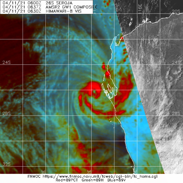 26S(SAROJA). 110630Z GMI 89GHZ MICROWAVE IMAGE REVEALS A COMPACT CORE WITH DEEP CONVECTION WRAPPING  AROUND THREE QUARTERS OF THE CIRCULATION AND A WELL DEFINED 13KM WIDE  MICROWAVE EYE FEATURE. THE EYE FEATURE WAS ALSO EVIDENT IN ANIMATED  RADAR DATA FROM THE CARNARVON AIRPORT RADAR SITE. THE COMBINATION OF  THE DATA CONFIRMING THE EYE FEATURE SEEN IN THE RADAR, VISIBLE AND  MICROWAVE IMAGERY LENT HIGH CONFIDENCE TO THE INITIAL POSITION. THE  INITIAL INTENSITY IS SET AT 70 KNOTS/US CAT 1 WITH MODERATE CONFIDENCE,  SLIGHTLY LOWER THAN THE MULTI-AGENCY DVORAK INTENSITY ESTIMATES OF  T4.5 (77 KTS) FROM BOTH PGTW AND APRF, AND KNES AT T5.0 (90 KTS).  ADT WAS SIGNIFICANTLY LOWER AT T3.1, BUT THE PRESENCE OF THE  MICROWAVE AND RADAR EYE PROVIDED STRONG SUPPORT FOR AN INCREASE IN  THE INTENSITY OVER THE PREVIOUS SIX HOUR ANALYSIS.