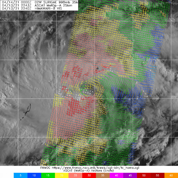 13/2343UTC  METOP-A ASCAT PASS SHOWING A CLEAR LLCC WITH EMBEDDED PATCHES OF 35  KNOTS.