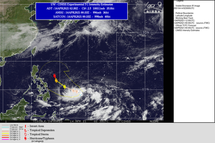 02W(SURIGAE). WARNING 3 ISSUED AT 14/03UTC. ANALYSIS INDICATES A FAVORABLE ENVIRONMENT WITH POLEWARD AND EQUATORWARD OUTFLOW CHANNELS, LOW (10- 20 KNOTS) VERTICAL WIND SHEAR, AND VERY WARM (29-30 DEGREES CELSIUS)  SEA SURFACE TEMPERATURES IN THE PHILIPPINE SEA. THE CYCLONE IS  TRACKING ALONG THE SOUTHWEST PERIPHERY OF A SUBTROPICAL RIDGE  EXTENSION LOCATED TO THE NORTHEAST. TS 02W WILL TRACK SLOWLY NORTHWARD THEN NORTHWESTWARD OVER THE  NEXT 72 HOURS AS THE AFOREMENTIONED SUBTROPICAL RIDGE (STR)  REORIENTS. THE AFOREMENTIONED FAVORABLE ENVIRONMENT WILL MAINTAIN  AND PROMOTE STEADY INTENSIFICATION TO 85 KNOTS/CAT 2 BY 72H. THERE IS A  POSSIBILITY OF INDUCED PRESSURE THAT MAY DAMPEN CONVECTION TO THE  EAST OF THE LLCC IN THE UPPER LEVELS. AFTER 72H, TS 02W WILL CONTINUE NORTHWESTWARD TOWARD THE  BREAK IN THE RIDGE FORMED BY A MIDLATITUDE TROUGH DIGGING IN FROM  EASTERN ASIA THAT WILL BREAK THE AFOREMENTIONED STR. AFTER THE STR  BREAKS, TS 02W WILL TRACK ALONG THE WESTERN PERIPHERY OF THE STR  FEATURE POSITIONED TO ITS EAST, DRIVING IT FURTHER NORTHWESTWARD  UNTIL REACHING THE STR AXIS AROUND 120H. CONTINUED  INTENSIFICATION IS EXPECTED AS THE FAVORABLE CONDITIONS ARE FURTHER  ENHANCED BY INCREASED POLEWARD OUTFLOW. BY 120H, TS 02W IS  EXPECTED TO REACH 115 KNOTS/CAT 4.