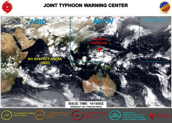 15/03UTC. THE JTWC IS ISSUING 6HOURLY WARNINGS ON 02W(SURIGAE) AND 3HOURLY SATELLITE BULLETINS.