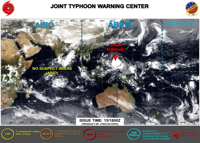 16/03UTC. THE JTWC IS ISSUING 6HOURLY WARNINGS ON 02W(SURIGAE) AND 3HOURLY SATELIITE BULLETINS.