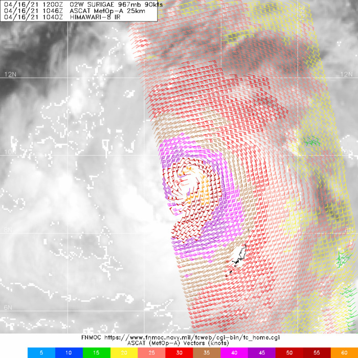 02W(SURIGAE).16/1046UTC METOP-A ASCAT  PASS CLEARLY DEPICTS THE LOW LEVEL CIRCULATION CENTER (LLCC).  ADDITIONALLY, WIND RADII HAVE BEEN ADJUSTED BASED ON THE  ASCAT PASS.