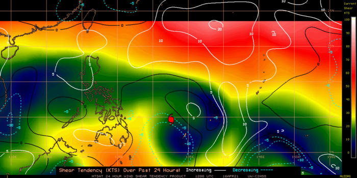 02W(SURIGAE).24H SHEAR TENDENCY.UW-CIMSS Experimental Vertical Shear and TC Intensity Trend Estimates: CIMSS Vertical Shear Magnitude : 9.0 m/s (17.5 kts)Direction : 107.2deg  Outlook for TC Intensification Based on Current Env. Shear Values and MPI Differential: FAVOURABLE OVER 24H.