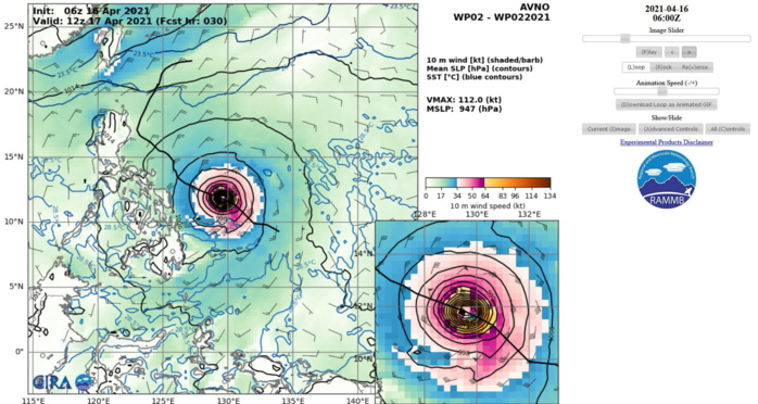 02W(SURIGAE). 16/06UTC. AVN INTENSITY GUIDANCE. PEAK INTENSITY AT +30H= 112KNOTS/947HPA. USUALLY THE ACTUAL PEAK INTENSITY IS ABOVE THE AVN SOLUTION.