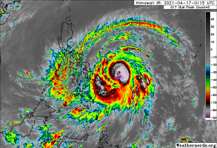 02W(SURIGAE). 17/0305UTC. ANIMATED MULTISPECTRAL SATELLITE  IMAGERY (MSI) REVEALS A 22 KM EYE WITH DEEP CONVECTIVE BANDS  WRAPPING INTO THE LOW LEVEL CIRCULATION CENTER, LENDING GOOD  CONFIDENCE TO THE INITIAL POSITION.