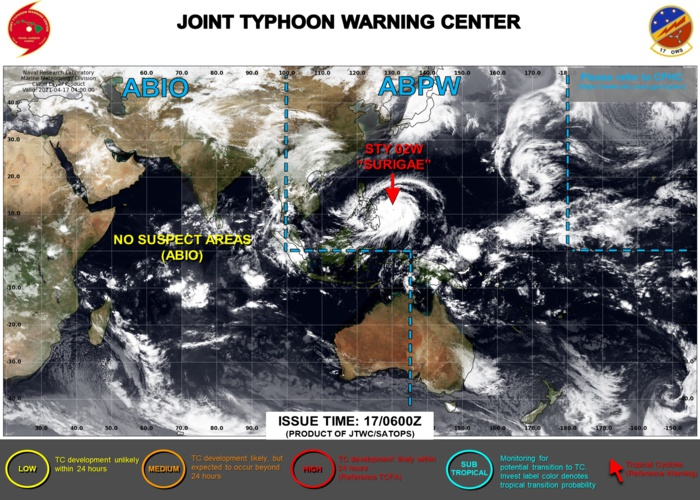 17/15UTC. THE JTWC HAS BEEN ISSUING 6HOURLY WARNINGS ON 02W(SURIGAE) AND 3HOURLY SATELLITE BULLETINS.