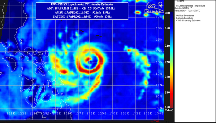 02W(SURIGAE). 17/2211UTC.A MOAT BEGAN TO FORM ON THE EASTERN PORTION OF THE EYEWALL INDICATED ON THIS 91GHZ MICROWAVE IMAGE, FURTHER EVIDENCED BY AN EYEWALL  REPLACEMENT CYCLE(ERC) ON THE CIMSS M-PERC MODEL.
