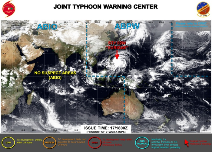 18/03UTC. THE JTWC HAS BEEN ISSUING 6HOURLY WARNINGS ON 02W(SURIGAE) AND 3HOURLY SATELLITE BULLETINS.