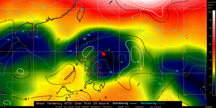 02W(SURIGAE). 02W(SURIGAE).24H SHEAR TENDENCY.UW-CIMSS Experimental Vertical Shear and TC Intensity Trend Estimates: CIMSS Vertical Shear Magnitude : 2.8 m/s (5.5 kts)Direction : 75.9deg Outlook for TC Intensification Based on Current Env. Shear Values and MPI Differential: VERY FAVOURABLE OVER 12H AND FAVOURABLE OVER 24H.