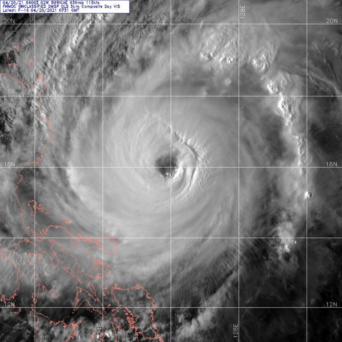 02W(SURIGAE). 20/0731UTC. DMSP VISIBLE.ANIMATED MULTISPECTRAL SATELLITE IMAGERY SHOWS THAT  TY SURIGAE CONTINUES TO MAINTAIN A ROUGHLY 55-KM WIDE EYE, THOUGH AT  LEAST IN THE VISIBLE AND INFRARED BANDS HAS BECOME SLIGHTLY MORE  RAGGED.