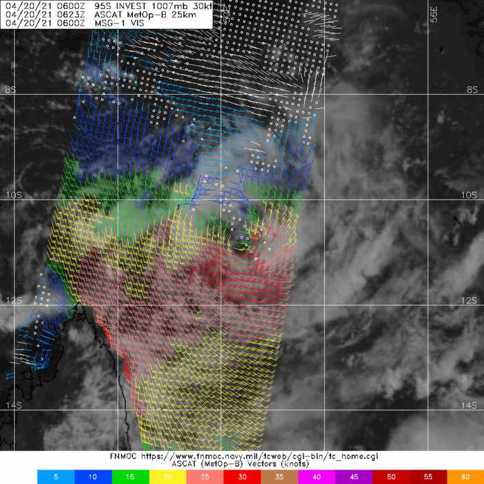 INVEST 95S. 20/0623UTC.ASCAT-B BULLSEYE PASS  SHOWS A WELL DEFINED LLCC AND AN ASYMMETRIC WIND FIELD, WITH 25-30KT  WINDS AND A RELATIVELY SMALLER AREA OF 30-35KT WINDS IN THE SOUTHERN  SEMICIRCLE. THE AFOREMENTIONED DATA LEND HIGH CONFIDENCE TO THE  ANALYSIS POSITION.