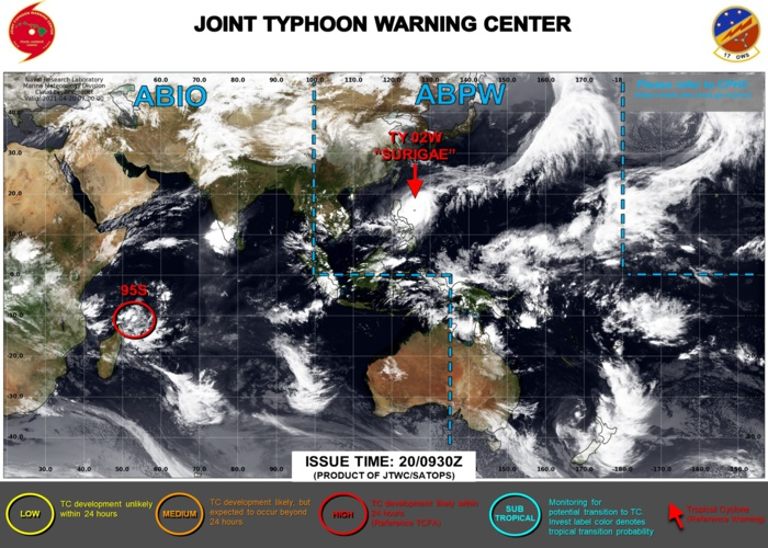 20/0930UTC. THE JTWC IS ISSUING 6HOURLY WARNINGS ON 02W(SURIGAE) AND 3HOURLY SATELLITE BULLETINS. INVEST 95S IS UP-GRADED TO HIGH: WINDS ARE LIKELY TO REACH AT LEAST 35KNOTS CLOSE TO THE CENTER WITHIN 24HOURS. 3HOURLY SATELLITE BULLETINS ARE NOW ISSUED ON 95S.
