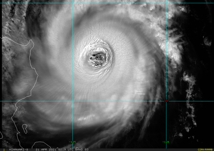 02W(SURIGAE). 21/0219UTC.SURIGAE CONTINUES TO EXHIBIT A LARGE 120 KM EYE WITH  A WARM CENTER. THE ENCIRCLING COLD RING OF DEEP CONVECTION HAS  WARMED SLIGHTLY IN RECENT HOURS. THE CORE REMAINS LARGELY SYMMETRIC,  AS VERTICAL WIND SHEAR (VWS) CONTINUES TO STAY UNDER 10 KNOTS, THOUGH  SOME INCREASING DEFORMITY IS NOTED IN THE WESTERN SEMICIRCLE,  PERHAPS DUE TO A NEARBY DRY AIR MASS OVER LUZON.