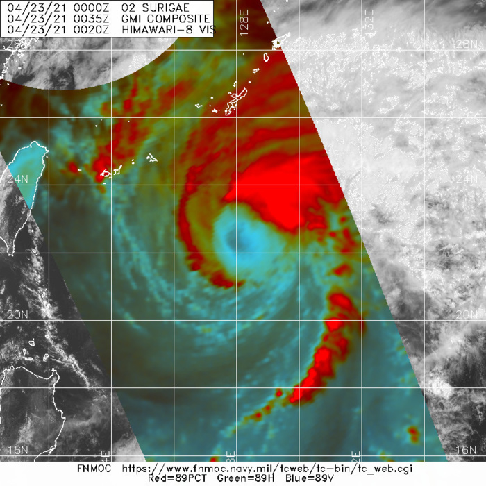 02W(SURIGAE). 23/0035UTC. GMI 89GHZ MICROWAVE IMAGE THAT IS IN  GOOD AGREEMENT WITH THE PGTW, RJTD, AND RCTP SATELLITE FIXES. THE  MICROWAVE IMAGERY CONFIRMS THAT THE DEEP CONVECTION IS BEING  SUSTAINED OVER THE EASTERN SEMICIRCLE, INDICATING AN INCREASINGLY  ASYMMETRIC CLOUD SHIELD.