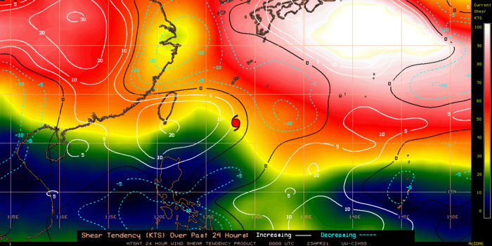 02W(SURIGAE). TY SURIGAE HAS TRACKED INTO A ZONE OF HIGH VERTICAL WIND SHEAR AND FALLING SEA  SURFACE TEMPERATURES AS IT MOVES ALONG THE PERIPHERY OF A  SUBTROPICAL RIDGE TO THE SOUTHEAST.