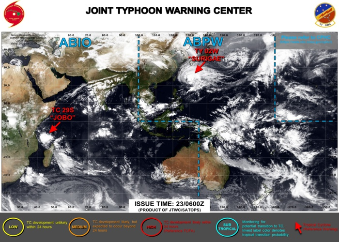 23/06UTC. THE JTWC IS ISSUING 6HOURLY WARNINGS ON 02W(SURIGAE AND 12HOURLY WARNINGS ON 29S(JOBO). 3HOURLY SATELLITE BULLETINS ARE ISSUED FOR BOTH SYSTEMS.