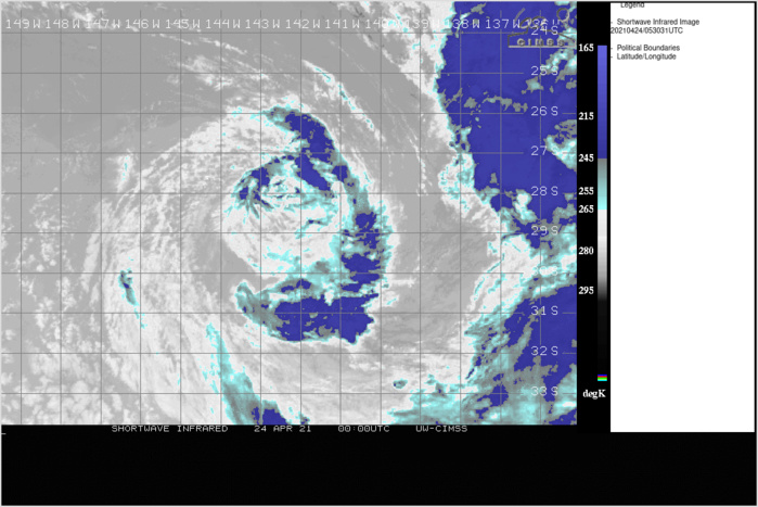 INVEST 96P. 24/0530UTC. SUBTROPICAL SYSTEM WITH 35KNOT WINDS JUST NORTH OF 30°SOUTH. CLICK TO ANIMATE.