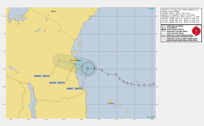 29S(JOBO). WARNING 8 ISSUED AT 24/09UTC.TC JOBO IS MOVING SLOWLY WEST-NORTHWESTWARD  ALONG THE NORTHERN PERIPHERY OF AN EAST-WEST ORIENTED LOW TO MID- LEVEL STR. THE OVERALL ENVIRONMENT REMAINS FAVORABLE, WITH LOW (10- 15KT) VWS, AND VERY WARM (29-30C) SSTS. THE MAIN HINDRANCE TO ANY  SIGNIFICANT DEVELOPMENT PRIOR TO LANDFALL IS THE PRESENCE OF A  REGION OF RELATIVELY DRIER AIR TO THE WEST, PROHIBITING THE RECENT  FLARING CONVECTION FROM EXPANDING AND PERSISTING. JOBO IS EXPECTED  TO MAKE LANDFALL JUST SOUTH OF DAR ES SALAAM WITHIN THE NEXT 12  HOURS AS A MINIMAL TROPICAL STORM, BEFORE MOVING RAPIDLY INLAND AND  QUICKLY DISSIPATING.