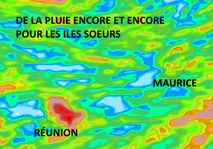 Accumulation de précipitations simulée par le modèle Arôme depuis 4heures ce Mardi jusqu'à 16heures Mercredi. La zone des ILES SOEURS est largement concernée avec les régions les plus exposées aux forts cumuls que sont une large moitié orientale de la RÉUNION et localement à MAURICE les hauteurs du Plateau Central et peut-être ponctuellement le Nord. MCIEL.MÉTÉO FRANCE.