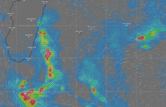 Une dépression se creuse à moins de 500km du Sud de MADA. Elle génère une instabilité orageuse marquée remontant vers le Sud-Est de la Grande Ile. Au cours de la journée la dépression va se décaler ver le Sud-Ouest. Demain l'activité pluvio-orageuse va fluctuer au large de MADA mais persistera et d'ici Mercredi la tendance orageuse devrait progresser vers l'Est tout en faiblissant un peu. Une évolution pluvio-orageuse est possible Jeudi et Vendredi pour la zone des ILES SOEURS. A confirmer. Windy.