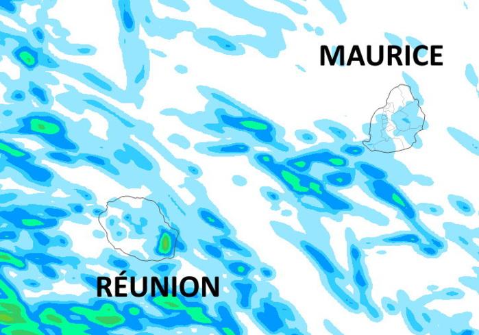 Le temps est plutôt sec et lumineux. Néanmoins le quart Sud-Est et les pentes du volcan de la RÉUNION apparaissent les plus exposés aux quelques épisodes pluvieux toutefois peu marqués au cours des prochaines 36heures. Le soleil sera le plus souvent souverain sur le sommet du volcan. On notera l'après-midi quelques ondées ou brèves averses disparates sur les pentes du Nord-Ouest ou dans l'intérieur. A MAURICE il fait aussi très beau. Quelques gouttes sur la moitié Est ou sur le Plateau Central sont possibles tôt le matin ou quelques autres très isolées sur le Sud-Ouest l'après-midi mais RIEN pour contredire l'impression généralisée de BEAU TEMPS. Simulation de l'accumulation de précipitations du modèle Arome sur 42heures jusqu'à Lundi 16heures. MFRANCE. MCIEL.