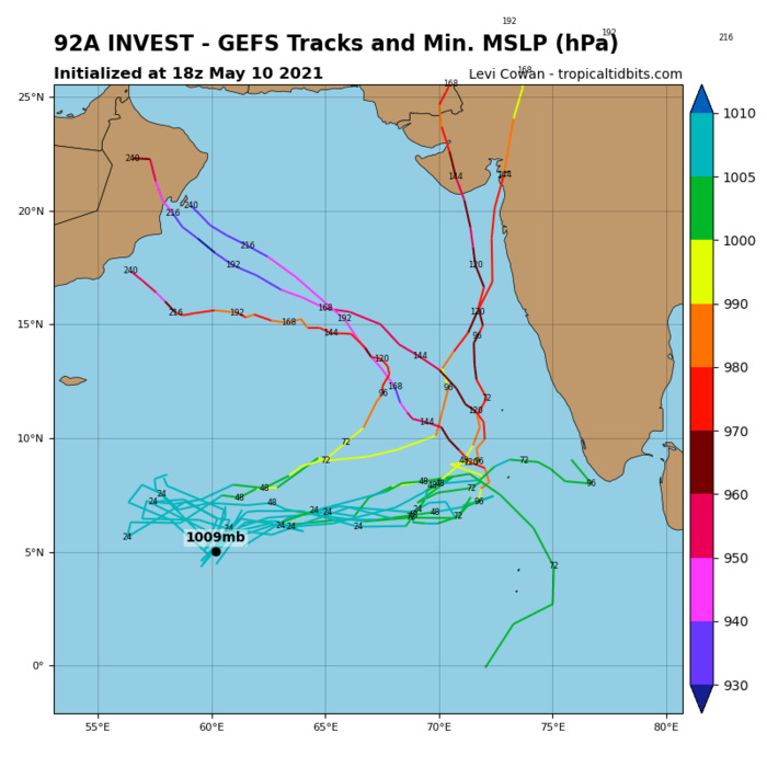 INVEST 92A. ENVIRONMENTAL ANALYSIS INDICATE INVEST 92A IS IN AN  AREA OF FAVORABLE TROPICAL DEVELOPMENT WITH GOOD POLEWARD OUTFLOW  ALOFT, LOW (10-15KT) VERTICAL WIND SHEER AND VERY WARM (30-31C) SEA  SURFACE TEMPERATURE. GLOBAL MODELS ARE IN GOOD AGREEMENT THAT INVEST  92A WILL CONSOLIDATE AND INTENSIFY AS IT TRACKS EASTWARD OVER  THE NEXT 24-48 HOURS.