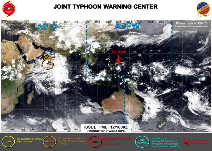 JTWC IS ISSUING 6HOURLY WARNINGS AND 3HOURLY SATELLITE BULLETINS ON 03W. INVEST 92A REMAINS MEDIUM: MODERATE CHANCES OF HAVING 35KNOT WINDS NEAR ITS CENTER WITHIN 24HOURS.