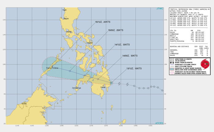 TD 03W. WARNING 4 ISSUED AT 13/15UTC.ANIMATED ENHANCED INFRARED SATELLITE IMAGERY(EIR) DEPICTS A FULLY-EXPOSED LOW-LEVEL CIRCULATION  DISPLACED WEST OF AN ISOLATED DEEP CONVECTIVE BURST. EIR  SUPPORTS THE INITIAL POSITION WITH GOOD CONFIDENCE AND INDICATES  THAT THE SYSTEM IS CURRENTLY MAKING LANDFALL OVER SOUTHEAST  MINDANAO.ENVIRONMENTAL ANALYSIS INDICATES A MARGINALLY-FAVORABLE  ENVIRONMENT WITH LOW VERTICAL WIND SHEAR (VWS), WEAK POLEWARD  OUTFLOW AND WARM SST VALUES (29C). TD 03W IS TRACKING WESTWARD ALONG  THE SOUTHERN PERIPHERY OF A LOW- TO MID-LEVEL SUBTROPICAL RIDGE  (STR) ENTRENCHED TO THE NORTH.TD 03W IS FORECAST TO TRACK WESTWARD TO WEST-NORTHWESTWARD  THROUGH THE FORECAST PERIOD UNDER THE STEERING INFLUENCE OF THE STR  POSITIONED TO THE NORTH. TD 03W IS EXPECTED TO WEAKEN AS IT TRACKS OVER MINDANAO, AND WILL  DISSIPATE BY 48H DUE TO INCREASING VWS (20-25 KNOTS) AND UPPER- LEVEL CONVERGENCE ASSOCIATED WITH A PERSISTENT UPPER-LEVEL TROUGH.