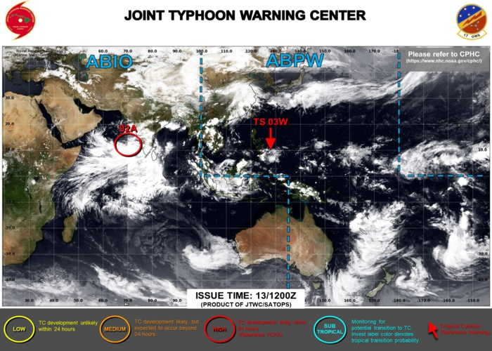 13/15UTC.JTWC IS ISSUING 6HOURLY WARNINGS AND 3HOURLY SATELLITE BULLETINS ON 03W. INVEST 92A IS UPGRADED TO HIGH: ELEVATED CHANCES OF HAVING 35KNOT WINDS NEAR ITS CENTER WITHIN 24HOURS. 3HOURLY SATELLITE BULLETINS ARE NOW ISSUED FOR 92A.